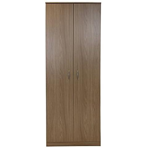 Devoted2Home Budget Bedroom Furniture with 2-Door Wardrobe, Wood, Oak Brown, 49.8 x 66.8 x 180 cm