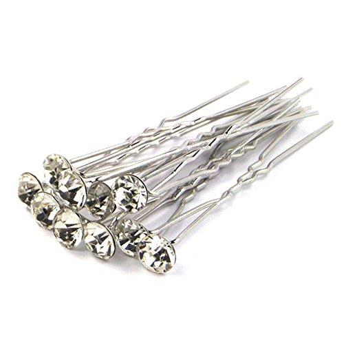 Chic * MALL 5x Hochzeit Braut Perle Blume Kristall Haarnadeln Clips U-Clip Fashion Haarspange Weiß (Jeweled Haarspangen)