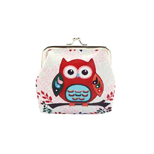 Internet Hibou Femmes Détenteur Portefeuille Card Porte-monnaie d'embrayage sac à main (Rouge)