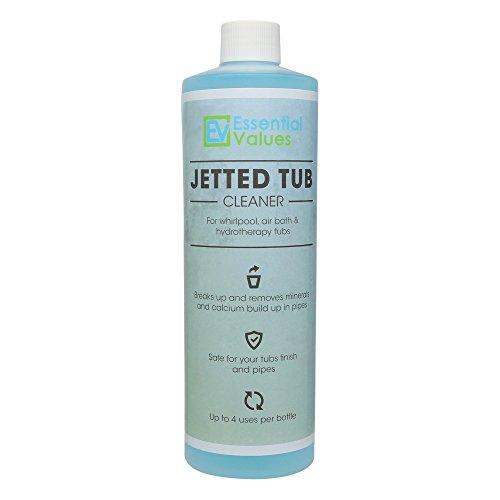 Essential Values Limpiador de bañera de hidromasaje, limpiador de bañera de hidromasaje (4 usos) para bañeras, spas, sistemas de chorro 16 onzas