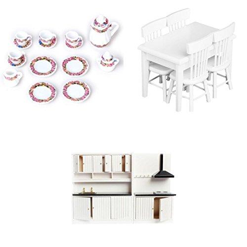 Gazechimp 3 Sistemas de 1/12 Gabinete Mueble de Cocina Silla Mesa Juego de Té Porcelana en Miniaturas de Dollhouse