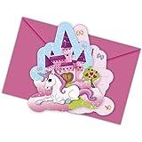 12-piezas Kit de invitación Unicornio para Cumpleaños Niños o Fiesta motos con 6 Tarjetas invitación y 6 Sobres niños cumpleaños fiesta Invitaciones Tarjetas Unicornio Niña Mundo de ensueño Candado
