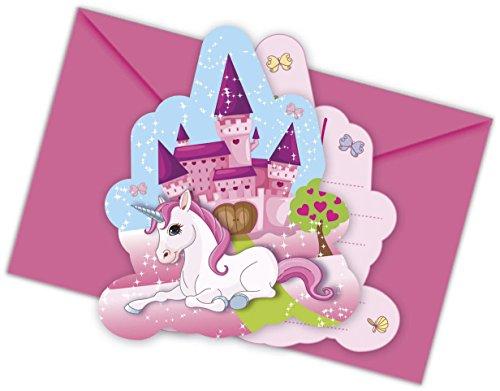12-teiliges Einladungs-Set Unicorn für Kindergeburtstag oder Mottoparty