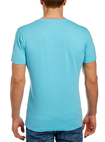 oodji Ultra Herren Tagless T-Shirt Basic Türkis (7300N)