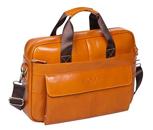 BOLO 13 14 Zoll Laptop Aktentasche Handarbeit Leder Aktentasche Business-Schulter Business-Tasche für Computer (Gelb-BP)