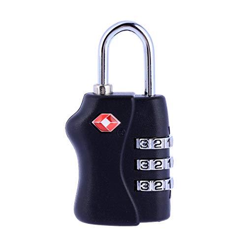Vosarea TSA Tragbares Gepäckschloss Sicherheitsschloss 3 Ziffern Kombination, Schloss (schwarz)