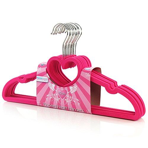 Hangerworld 20 Samt beflockte 42cm Kleiderbügel Hosensteg Einkehrbung Pink Herz Design Rutschfest