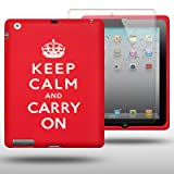 IPAD 2 KEEP CALM AND CARRY ON LASERED SILICONE SKIN WITH SCREEN PROTECTOR BY CELLAPOD CASES RED/WHITE