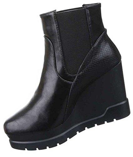 Damen Stiefeletten Schuhe Keil Wedges Club Abendmode Plateau Boots Schwarz Schwarz
