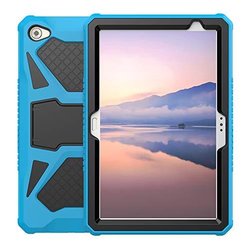 Foluu Kompatibel mit Huawei MediaPad M5 Lite 10 Hülle, Heavy Duty Ultra Hybrid Silikon Harter PC Bumper Stoßfester Ganzkörper-Schutzüberzug mit Ständer für M5 Lite 10 10,1 Zoll 2018 (Blau + Schwarz)