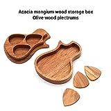Muslady Gitarren Pick Set Picks Halter Plektrum Aufbewahrungsbox Plektren mit 3 Stück Zarte Holz Holz Gitarrenzubehör
