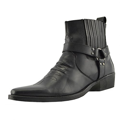 Kick Footwear - Herren Cowboy Ankle Boots Aus Leder Biker-Boots Aus Leder Toe - UK 12 / EU 46, Schwarz (Schwarz Herren Cowboy Stiefel)