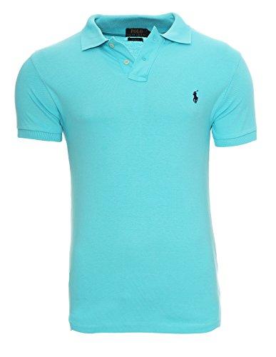 Ralph lauren camicia di polo piccolo pony polo uomo custom fit s-m-l-xl-xxl camicia di polo piccolo pony polo uomo custom fit s-m-l-xl-xxl, dimensione:xl, colore:turchese