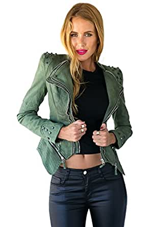 LookbookStore Damen Sharp Leistung verzierte Schulter Revers Denim Jeans Tuxedo Blazer Jacken Mantel Grun EU 32 - EU 34