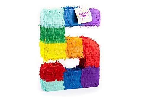 Pinata Kostüm - Trendario Pinata Zahl 5 - Mehrfarbig - ungefüllt - Ideal zum Befüllen mit Süßigkeiten und Geschenken - Piñata für Kindergeburtstag Spiel, Geschenkidee, Party, Hochzeit