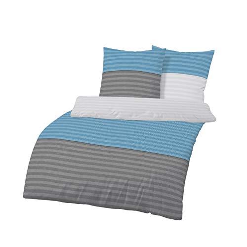 Träumschön Biber Bettwäsche 135x200 2tlg   Querstreifen anthrazit blau   Bettbezug 135x200 cm & Kissenbezug 80x80 Set