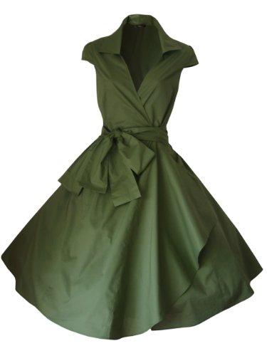 LOOK FOR THE STARS Retro Vintage Kleid Abend Party 50er Jahre Stil Rockabilly / Sommerkleid/Cocktailkleid, Größen EU 34-52 Olivgrün