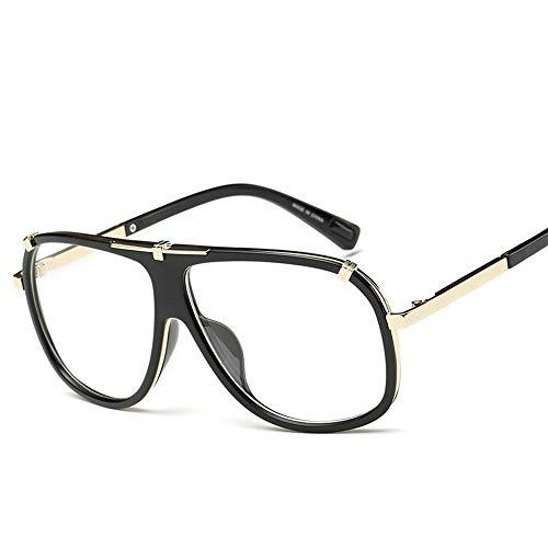 WEATLY Herren- / Damenmode-große Rahmen-Flieger-Sonnenbrille für Reisesport im Freien (Farbe : Clear/Black)