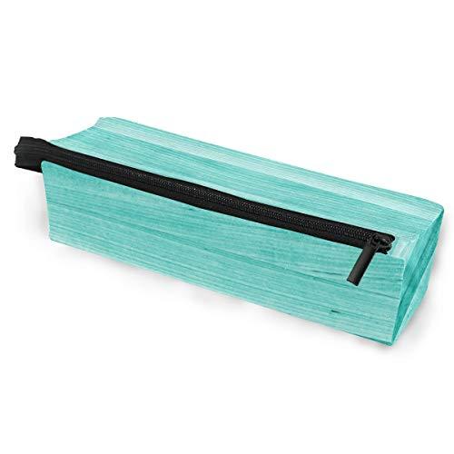 Abstrakt Türkis Holz Brillenetui Softbox Reißverschluss Sonnenbrille Halter Federbeutel Schutzhülle Bleistift Kosmetiktaschen Aufbewahrung