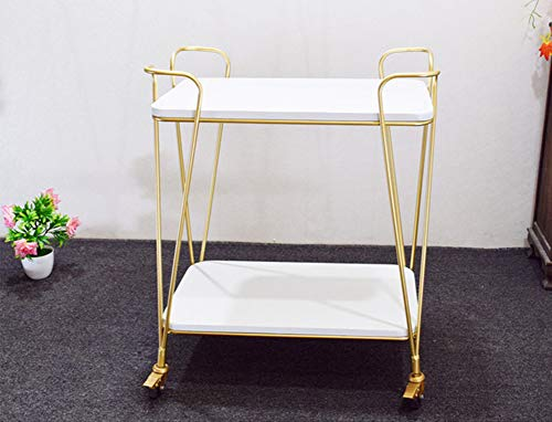 WILL Multifunktionswagen Schönheitssalon Gold Holz Doppeldecker Vintage Speicher Café Restaurant 61 × 38 × 76 cm -