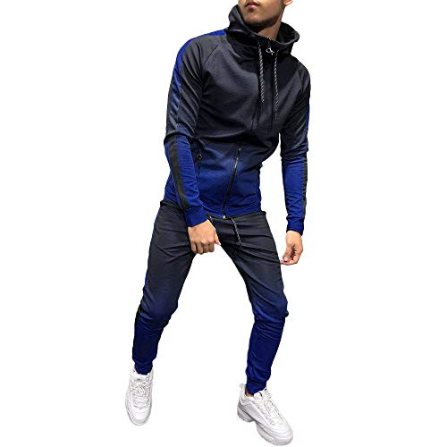 SUCES Herren Jogging Anzug Männer Sweatshirt Hose Sets Herbst Winter Hoodie Sport Casual Strickjacke Modisch Klassisch Trainingsanzug (Blau,M)
