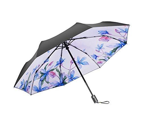 Y-S Leichter, Faltbarer Sonnenschirm für Den Sonnenschirm Sun Protectionms Dreifacher Regenschirm Leicht zu Tragen Manuell Griffiger Griff, Regenschirm, a