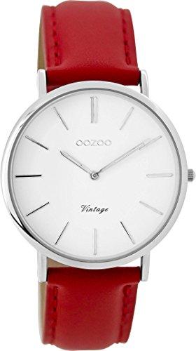 Oozoo Vintage Damenuhr Lederband 36 MM Weiss/Rot C9308