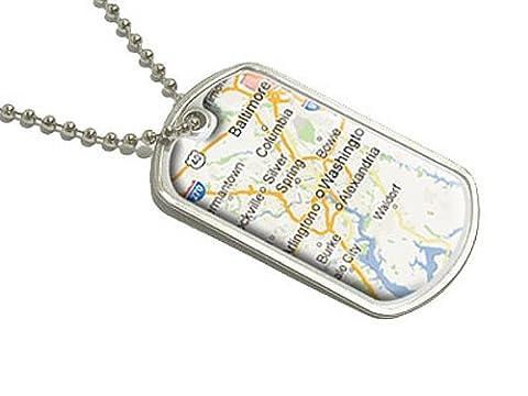 Washington DC–USA Capitol–Military Dog Tag bagages Porte-clés