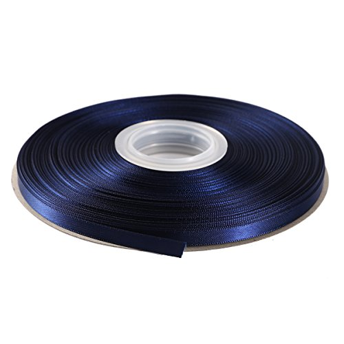 Itisparkle nastro doppio raso 6mm di larghezza x 45m per pacchetti regalo decorazione cucire feste matrimoni - blu notte