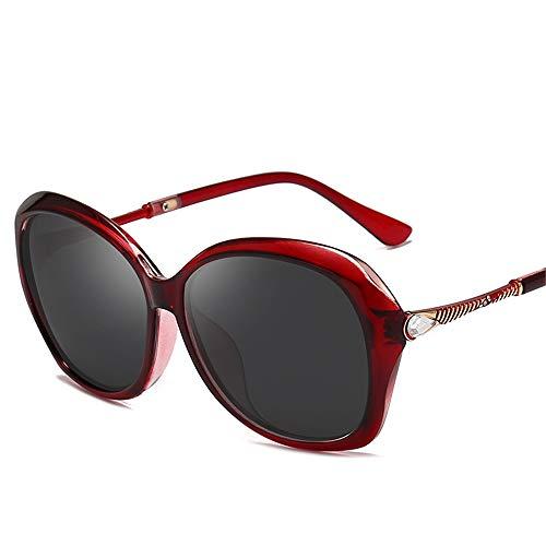 DURIAN MANGO Polarisierte Damen-Sonnenbrille mit individuellen Bändern, großen Rahmen und gebohrten Sonnenbrillen,Red