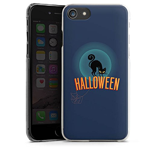 Apple iPhone X Silikon Hülle Case Schutzhülle Halloween Katze Gruselig Hard Case transparent