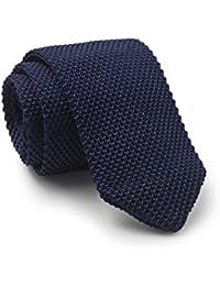Savile Row Men's Navy Skinny Knitted Silk Tie