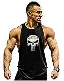Herren Tank Top Men Cotton Stringer Fitness Gym Shirt Solide Skull Totenkopf T-Shirt Weste Muscleshirt Print Sport Vest (M, Schwarz)