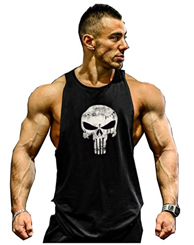 Herren Tank Top Men Cotton Stringer Fitness Gym Shirt Solide Skull Totenkopf T-Shirt Weste Muscleshirt Print Sport Vest (M, Schwarz)