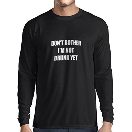 lepni.me T-Shirt Manches Longues Homme Je ne suis Pas saoul Encore! Citations drôles - Concert, fête, Bar Humour (Small Noir Blanc)
