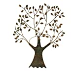 T&D Wanddeko aus Metall Metallbild Baum grün Gold 77 x 64 cm - Gilde Handwerk Wandrelief