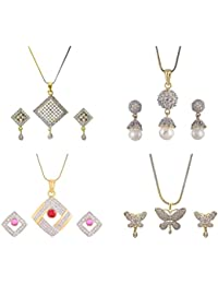 Aabhu Gold Plated American Diamond Combo Of 4 Regular Pendant Set Necklace With Earrings Jewellery For Women And...