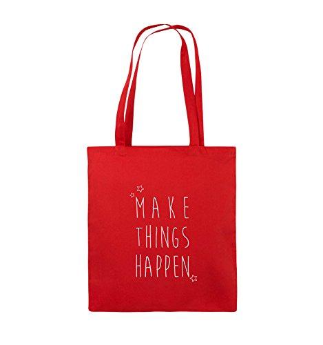 Comedy Bags - MAKE THINGS HAPPEN - Jutebeutel - lange Henkel - 38x42cm - Farbe: Schwarz / Pink Rot / Weiss