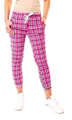 Easy Young Fashion Damen Joggpants Hose Lang Schotten-Karo One Size Pink-Weiß-Schwarz - Pink Schwarz Karo