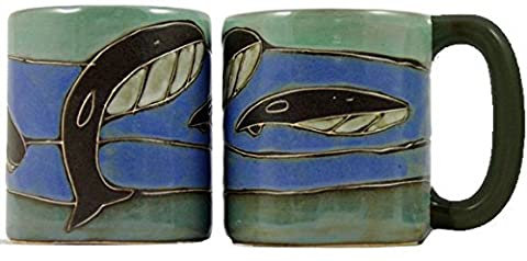 One (1) MARA STONEWARE COLLECTION - 16 Oz Coffee Cup Collectible Dinner Mug - Whale Ocean Blue