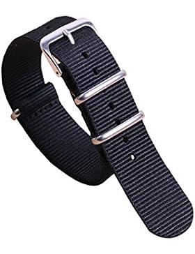 14mm schwarz Luxus exquisite Frauen einteiliger NATO Stil Nylon Perlon Uhrenarmbänder Bänder Textil
