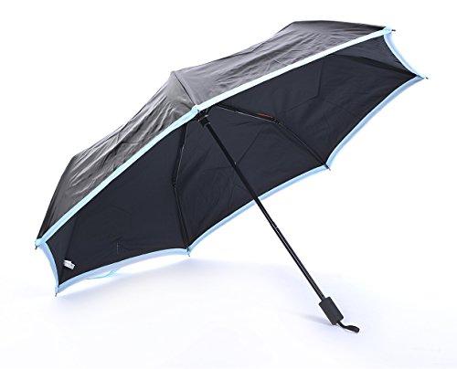 Honeystore Taschenschirm Triple Falten Outdoor Schwarz Sonnnenschirm UV-Schutz Sonne Regen Schirm Blau