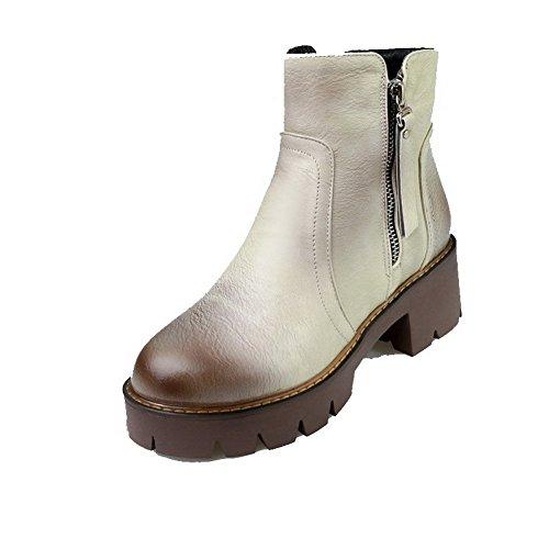 AllhqFashion Damen Ziehen auf Rund Zehe Niedriger Absatz Schön Velours Stiefel, Kamel Farbe, 43