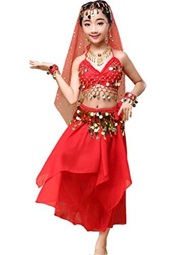 d Kinder Bauchtanz Halloween Karneval Kostüm-SätzeRotM ()