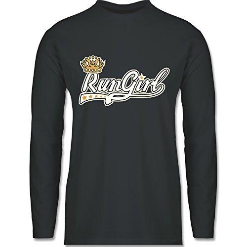 Laufsport - Run Girl Krone - Longsleeve / langärmeliges T-Shirt für Herren Anthrazit