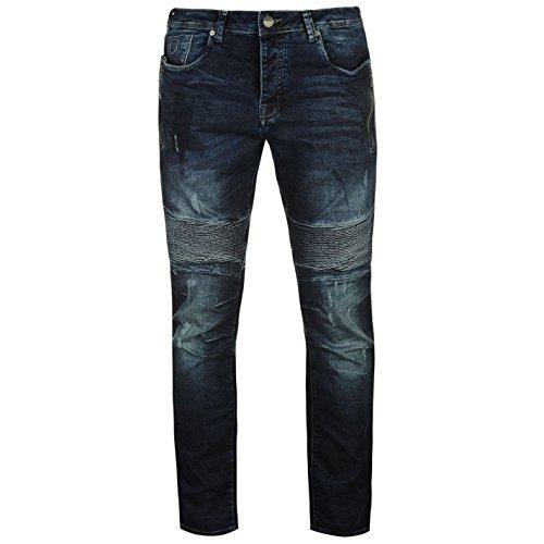 883 Police Homme Cassady Jeans Droite Pantalon Denim Poches Taille Élastique Medium Wash