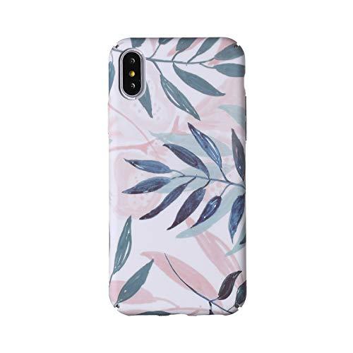 ERQINGT Handytasche Tropische Blätter Blumenkunst Matte Leuchtende Relief Textur Hard Phone Case Für iPhone 6 6S 6Plus 7 7Plus 8 8Plus Relief-blättern
