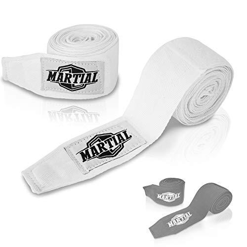 Boxbandagen von MARTIAL mit bestem Klett und Daumenschlaufe. Bandagen ohne Ausleiern für MMA, Boxen, Kickboxen & Sparring! Handgelenkbandage schwarz & weiß, optimale Schweißaufnahme und Beutel!