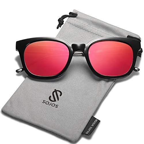 SOJOS Fashion Rechteckig Polarisierte Sonnenbrille Damen Herren in Mode SJ2050 mit Schwarz Rahmen/Rot Linse