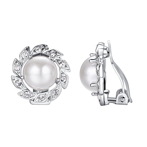 Yoursfs Perle Clip Vogue 18k weißes Gold überzogen Verwenden Österreich-Kristallblumen-Clip